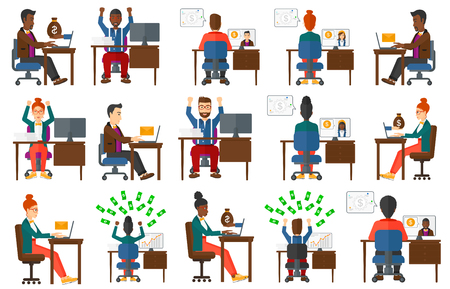 concluding: Businessman concluding online business deal. Man earning online. Businessman using a computer for online business. Online business concept. Set of vector illustrations isolated on white background.