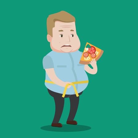 square tape: Fat man with slice of pizza measuring waistline with tape. Man measuring with tape the abdomen and eating pizza. Overweight man with centimeter on waist. Vector flat design illustration. Square layout