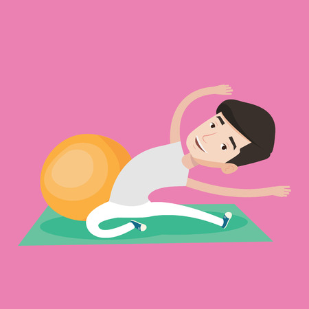 Young caucasian man exercising in the gym. Man doing stretching on exercise mat. Sportsman stretching before training. Man doing stretching exercises. Vector flat design illustration. Square layout