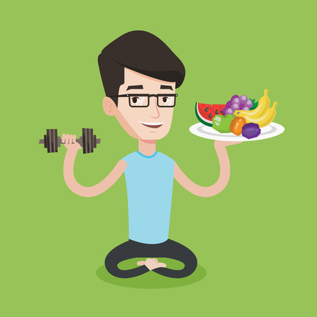 Healthy sportsman with fruits and dumbbell. Caucasian sportsman holding fruits and dumbbell. Man choosing healthy lifestyle. Healthy lifestyle concept. Vector flat design illustration. Square layout. Illustration