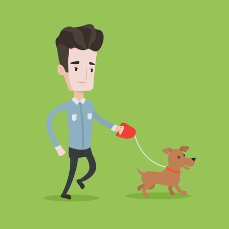 Young man with his dog. Happy man taking dog on walk. Caucasian man walking with his small dog. Smiling man walking a dog on leash. Vector flat design illustration. Square layout. Ilustrace