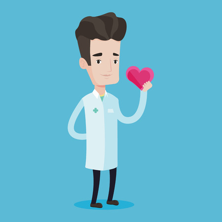 heart problems: Cardiologist in medical doctor uniform with heart in hand. Doctor cardiologist holding heart. Concept of healthcare and prevention of heart problems. Vector flat design illustration. Square layout. Illustration