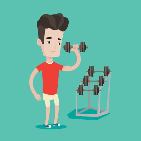 Young sporty man lifting a heavy weight dumbbell. Caucasian strong sportsman doing exercise with dumbbell. Male weightlifter holding dumbbell in the gym. Vector flat design illustration. Square layout Illustration