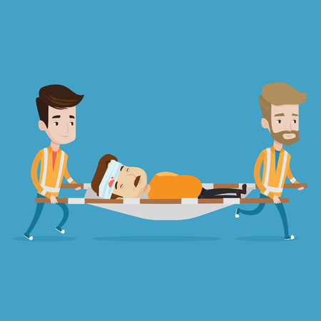 transporting: Team of emergency doctors carrying injured man on emergency medical stretcher. Caucasian paramedics transporting victim after accident on the stretcher. Vector flat design illustration. Square layout.