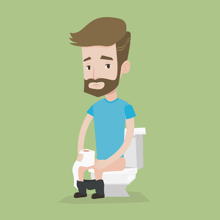 Hipster man sitting on toilet bowl and holding toilet paper roll. Man suffering from diarrhea and a stomach upset. Man suffering from constipation. Vector flat design illustration. Square layout.