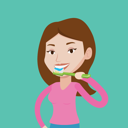 cleaning teeth: Young caucasian woman brushing her teeth. Smiling woman cleaning teeth. Woman with toothbrush in hand. Vector flat design illustration. Square layout.