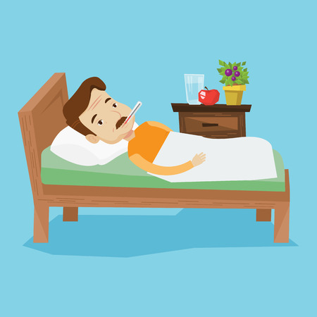 flu virus: Caucasian sick man with fever laying in bed. Sick man measuring temperature with thermometer in mouth. Sick man suffering from cold or flu virus. Vector flat design illustration. Square layout.
