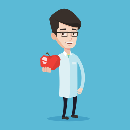 Jeune caucasien alimentation médecin prescripteur et la saine alimentation. Sourire nutritionniste mâle confiant tenant une pomme. Docteur offrant pomme rouge frais. Vector design plat illustration. layout Square.