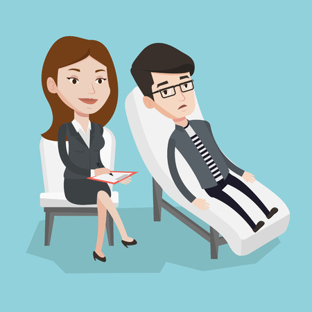 Caucasian patient lying on sofa and talking about problems with psychotherapist or psychologist. Psychologist having session with patient in depression. Vector flat design illustration. Square layout. Stok Fotoğraf - 64377508