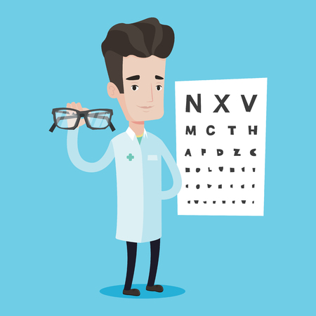 optician: Caucasian male oculist doctor giving glasses. Professional ophthalmologist holding eyeglasses on the background of eye chart. Oculist offering glasses. Vector flat design illustration. Square layout. Illustration