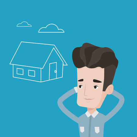 Young caucasian man dreaming about future life in a new house. Smiling man planning his future purchase of house. Man thinking about buying a house. Vector flat design illustration. Square layout. Illustration