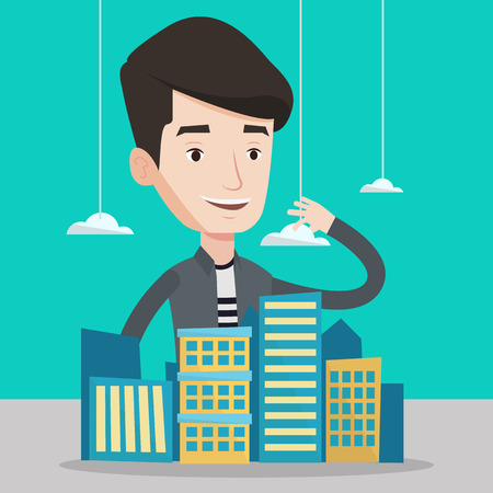 sales manager: Young caucasian real estate agent presenting a model of city with clouds. Sales manager working with a project of a new modern district of the city. Vector flat design illustration. Square layout.