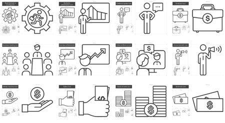 scalable set: Business vector line icon set isolated on white background. Business line icon set for infographic, website or app. Scalable icon designed on a grid system.