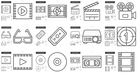 scalable set: Cinema vector line icon set isolated on white background. Cinema line icon set for infographic, website or app. Scalable icon designed on a grid system.