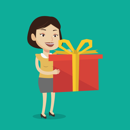 Joyful caucasian woman holding a box with gifts in hands. Happy woman holding gift box. Young woman standing with gift box. Woman buying a present. Vector flat design illustration. Square layout. Illustration