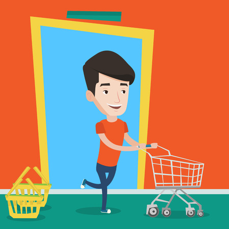 shopping trolley: Happy man rushing to shopping. Cheerful customer with an empty shopping trolley running into the shop. Young caucasian man pushing supermarket trolley. Vector flat design illustration. Square layout. Illustration