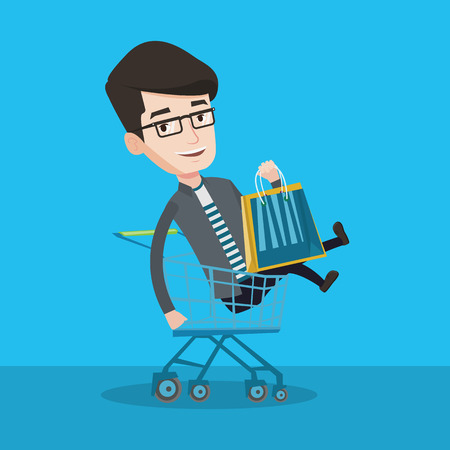 shopping trolley: Young carefree customer having fun while riding by shopping trolley. Cheerful caucasian man with a lot of shopping bags sitting in shopping trolley. Vector flat design illustration. Square layout. Illustration