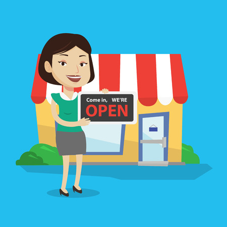 come in: Friendly female shop owner holding open signboard. Cheerful female shop owner standing in front of small store. Woman inviting to come in her shop. Vector flat design illustration. Square layout.