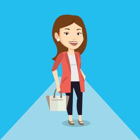 Caucasian woman posing on catwalk on fashion event. Smiling female model walking on catwalk during fashion week. Woman on catwalk during fashion show. Vector flat design illustration. Square layout. Illustration
