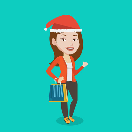 Woman in santa hat holding shopping bags. Caucasian woman carrying shopping bags. Girl with a lot of shopping bags. Girl shopping for christmas gifts. Vector flat design illustration. Square layout  イラスト・ベクター素材