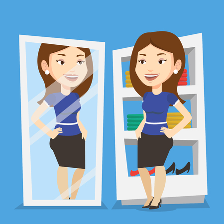 choosing clothes: Young woman looking at herself in a mirror in dressing room. Young girl trying on skirt in dressing room. Happy woman choosing clothes in dressing room. Vector flat design illustration. Square layout.