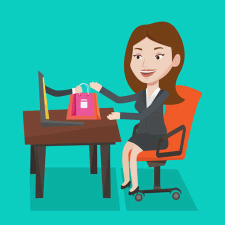 woman using laptop: Young woman getting shopping bags from laptop. Woman making online order in virtual shop. Cheerful caucasian woman using laptop for online shopping. Vector flat design illustration. Square layout.