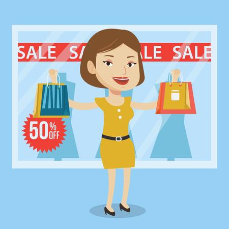 Vrouw met boodschappentassen in de voorkant van de kleding winkel etalage en verkoop ondertekenen. Vrouw met boodschappentassen in de voorkant van de etalage met de tekst koop. Vector platte ontwerp illustratie. Vierkante lay-out. Stock Illustratie