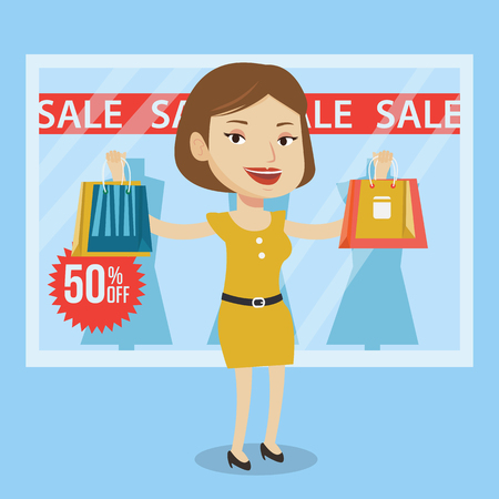 window display: Woman with shopping bags in front of clothes shop display window and sale sign. Woman with shopping bags in front of window display with text sale. Vector flat design illustration. Square layout. Illustration