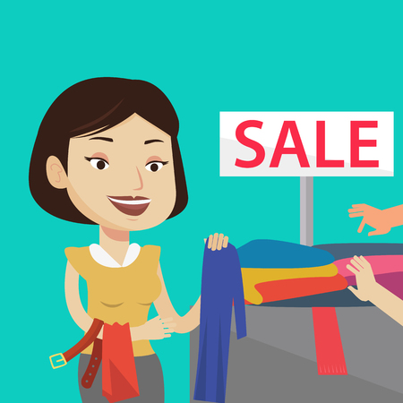 choosing clothes: Happy female customer buying clothes at store on sale. Caucasian woman choosing clothes in shop on sale. Young girl shopping in clothing shop on sale. Vector flat design illustration. Square layout.