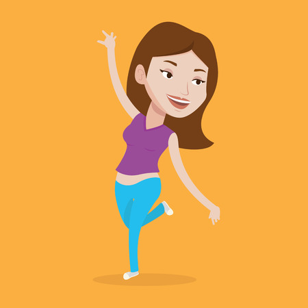 arm raised: Happy caucasian woman dancing. Cheerful woman dancer with arm raised in motion. Smiling woman during dance workout. Young sporty woman doing dance moves. Vector flat design illustration. Square layout