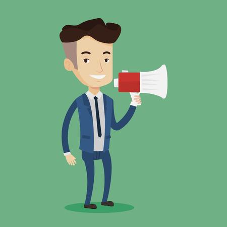 promoter: Businessman promoter holding megaphone. Social media marketing concept. Businessman speaking into a megaphone. Businessman advertising using megaphone. Vector flat design illustration. Square layout. Illustration