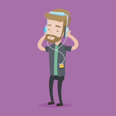relaxed man: Hipster man listening to music on his smartphone. Young caucasian man in headphones listening to music. Relaxed man with eyes closed enjoying music. Vector flat design illustration. Square layout.