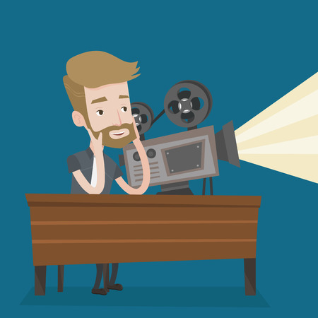 film projector: Hipster man with beard sitting near a film projector in the room projectionist. Caucasian projectionist showing new film. Young projectionist at work. Vector flat design illustration. Square layout.