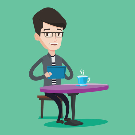 rewriting: Young man using a tablet computer in a cafe. Happy man surfing in the social network. Social network concept. Man rewriting in social network in a cafe. Vector flat design illustration. Square layout.