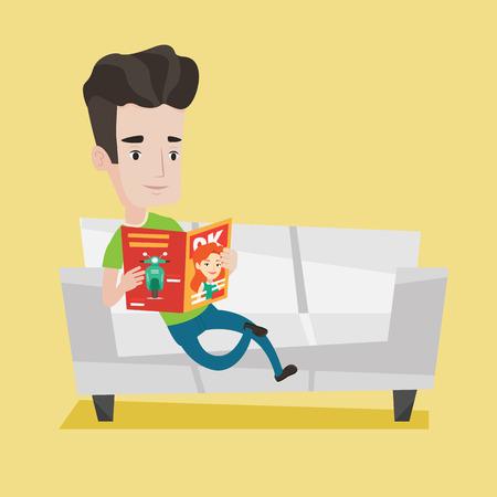 Jonge blanke man het lezen van een tijdschrift. Relaxed man, zittend op de bank en het lezen van het tijdschrift. Jonge lachende man zittend op de bank met een tijdschrift in handen. Vector platte ontwerp illustratie. Vierkante lay-out.