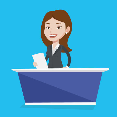 the reporting: Television anchorwoman working at studio. Young caucasian television announcer at studio during live broadcasting. Tv newscaster reporting tv news. Vector flat design illustration. Square layout. Illustration