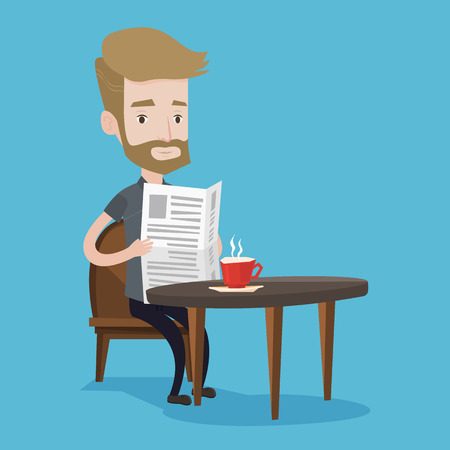 reading news: A hipster man with the beard reading newspaper. Young man reading news in newspaper. Caucasian man sitting with newspaper in hands and drinking coffee. Vector flat design illustration. Square layout.