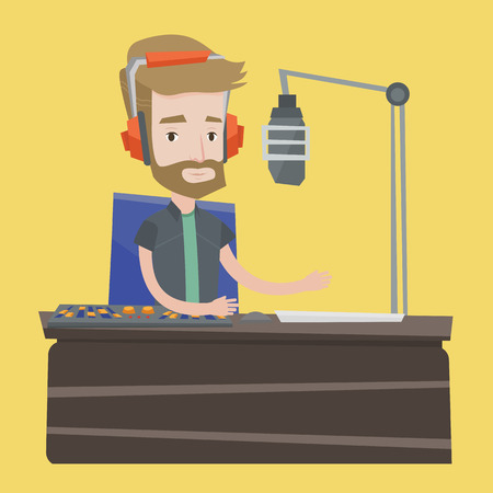 mixing console: Young hipster dj working on mixing console and speaking into a microphone on the radio. Cheerful news presenter in headset working on a radio station. Vector flat design illustration. Square layout. Illustration