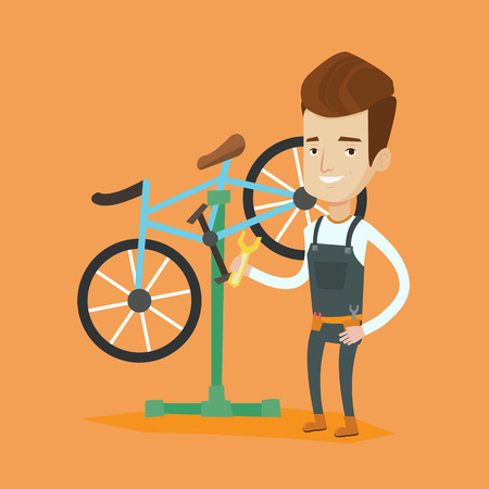 spare part: Caucasian man working in bike workshop. Technician fixing bicycle in repair shop. Bicycle mechanic repairing bicycle. Man installing spare part bike. Vector flat design illustration. Square layout.