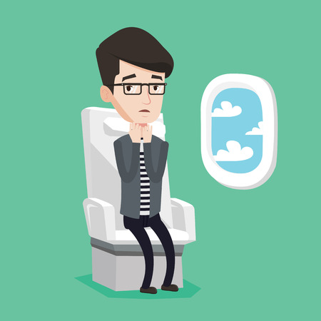 terrified: Young caucasian man shocked by plane flight in a turbulent area. Airplane passenger frightened by flight. Terrified passenger sitting in airplane seat. Vector flat design illustration. Square layout.