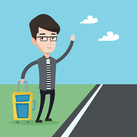 hitchhiking: Young caucasian man with suitcase hitchhiking on roadside. Hitchhiking man trying to stop a car on a highway. Man catching taxi car by waving hand. Vector flat design illustration. Square layout.
