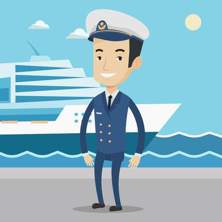 Kaukasische kapitein op de achtergrond van zee en cruiseschip. Glimlachende schip kapitein in uniform op zeekust achtergrond. Scheepvaart kapitein bij de haven staan. Vector platte ontwerp illustratie. Vierkant layout. Stock Illustratie