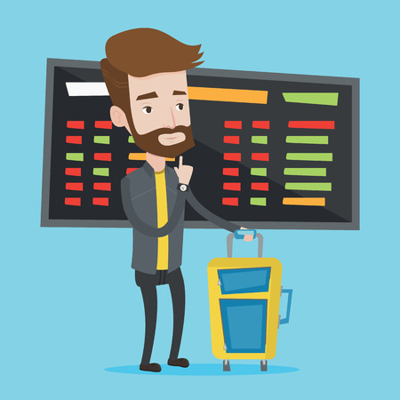 departure board: Caucasian hipster man with beard waiting for a flight at the airport. Passenger with suitcase standing at the airport on a background of departure board. Vector flat design illustration. Square layout Illustration
