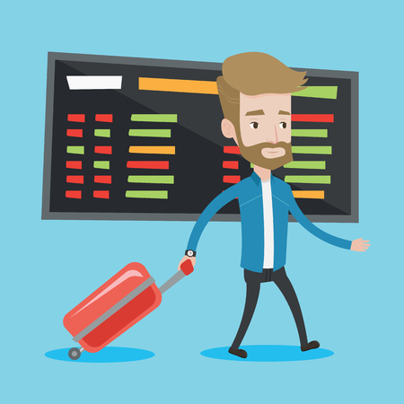 departure board: Hipster man walking at the airport. Passenger with suitcase walking on the background of schedule board at the airport. Man pulling suitcase in airport. Vector flat design illustration. Square layout.