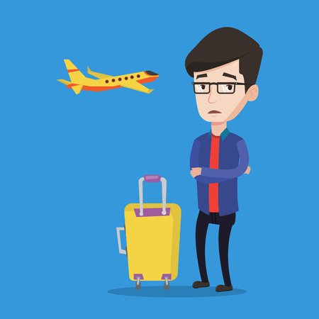 terrified: Caucasian airplane passenger frightened by future flight. Young man suffering from fear of flying. Terrified passenger with suitcase waiting for a flight. Vector flat design illustration Square layout
