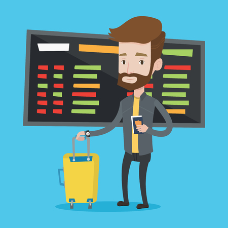 departure board: Caucasian hipster man waiting for a flight at the airport. Passenger holding passport and airplane ticket. Man with suitcase standing at the airport. Vector flat design illustration. Square layout. Illustration