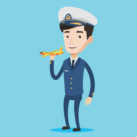 aircrew: Young caucasian airline pilot holding a model airplane in hand. Cheerful airline pilot in uniform. Smiling confident pilot. Pilot with model airplane. Vector flat design illustration. Square layout.