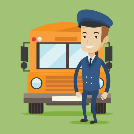 Caucasian school bus driver standing in front of yellow bus. Smiling school bus driver in uniform. Cheerful school bus driver. Happy school bus driver. Vector flat design illustration. Square layout. Ilustrace