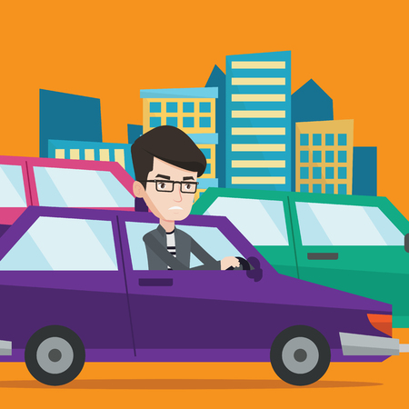the traffic jam: Angry caucasian man in the car stuck in a traffic jam. Irritated young man driving a car in a traffic jam. Agressive driver honking in traffic jam. Vector flat design illustration. Square layout.