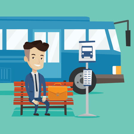 Caucasian businessman with briefcase waiting for a bus at the bus stop. Young businessman sitting at the bus stop. Man sitting on a bus stop bench. Vector flat design illustration. Square layout.